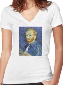 Self Portrait of Vincent Van Gogh Women's Fitted V-Neck T-Shirt