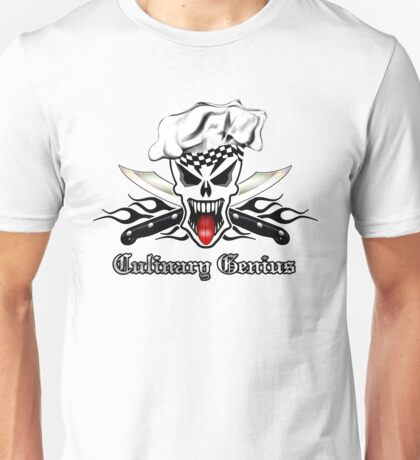 Chef Skull 2.1: Culinary Genius Black Flames Unisex T-Shirt