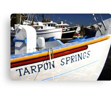 """Tarpon Springs Florida, Boats"" Canvas Print"