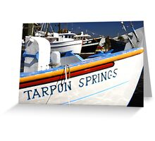 """Tarpon Springs Florida, Boats"" Greeting Card"