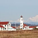 Point Wilson Light Station and Mount Baker by Lynn Bawden