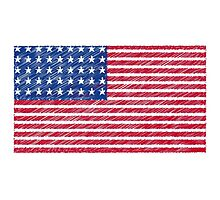 Patriotic Primitive Red and Blue American Stars and Stripes Photographic Print