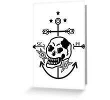 SKULL ANCHOR BLACK Greeting Card