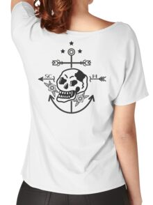 SKULL ANCHOR BLACK Women's Relaxed Fit T-Shirt