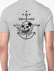 SKULL ANCHOR BLACK Unisex T-Shirt