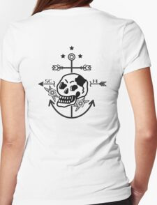 SKULL ANCHOR BLACK Womens Fitted T-Shirt