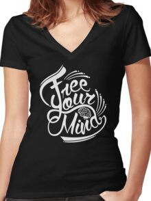 FREE YOUR MIND WHITE Women's Fitted V-Neck T-Shirt