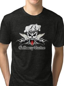 Chef Skull 2.1: Culinary Genius 3 white flames Tri-blend T-Shirt