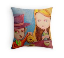 Alice & The Mad Hatter Throw Pillow
