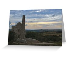 Sunset over mine workings Cornwall Greeting Card