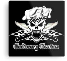 Chef Skull 2.2: Culinary Genius 3 white flames Metal Print