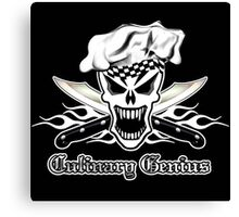 Chef Skull 2.2: Culinary Genius 3 white flames Canvas Print