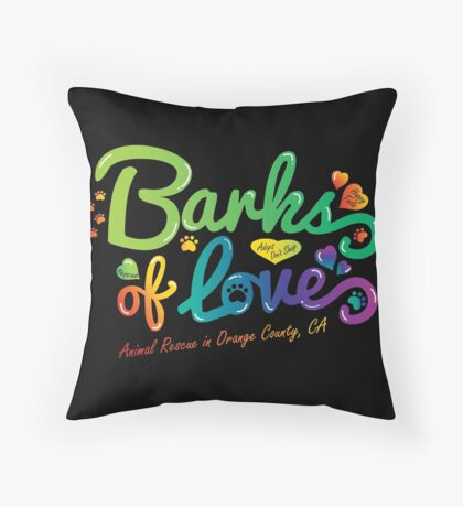 Merchandise - Barks of Love (Colors on Black) Throw Pillow