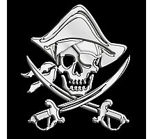 Chrome Nautical Pirate Crossbones Photographic Print