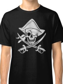 Chrome Nautical Pirate Crossbones Classic T-Shirt