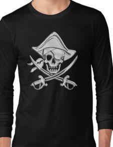 Chrome Nautical Pirate Crossbones Long Sleeve T-Shirt