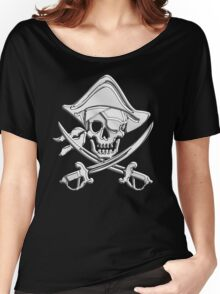 Chrome Nautical Pirate Crossbones Women's Relaxed Fit T-Shirt