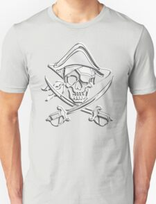 Chrome Nautical Pirate Crossbones Unisex T-Shirt