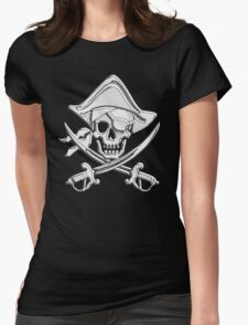 Chrome Nautical Pirate Crossbones Womens Fitted T-Shirt