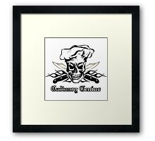 Chef Skull 3: Culinary Genius 3 black flames Framed Print