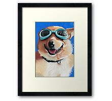 Corgi in Goggles Framed Print