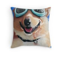 Corgi in Goggles Throw Pillow