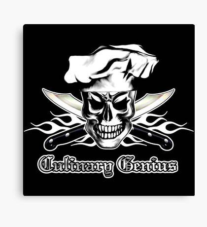 Chef Skull 3: Culinary Genius 3 white flames Canvas Print