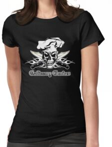 Chef Skull 3: Culinary Genius 3 white flames Womens Fitted T-Shirt