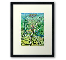 Austin Texas Cartoon Map Framed Print