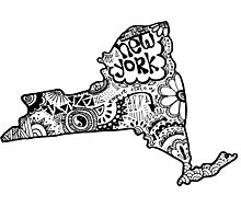 Hipster New York State Outline Photographic Print