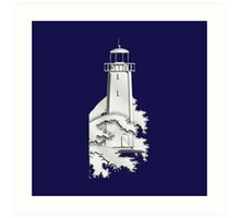 Nautical Chrome Mighty Lighthouse Art Print
