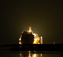 STS123 Night Launch, clearing the tower. by Mark Weaver