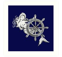 Chrome Style Nautical Mermaid Applique Art Print
