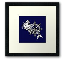 Chrome Style Nautical Mermaid Applique Framed Print