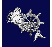 Chrome Style Nautical Mermaid Applique Photographic Print