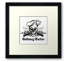 Chef Skull 4: Culinary Genius 3 black flames Framed Print