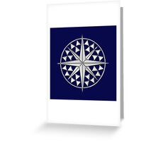 Chrome Style Nautical Compass Star Greeting Card