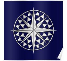 Chrome Style Nautical Compass Star Poster