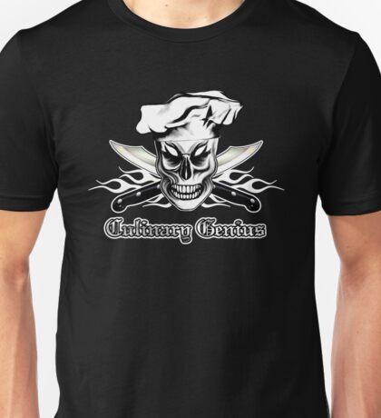 Chef Skull 4: Culinary Genius 3 white flames Unisex T-Shirt