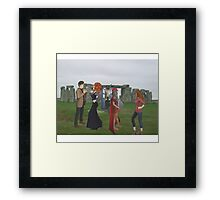 dr who and friends at stone henge Framed Print