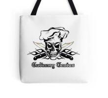 Chef Skull 3: Culinary Genius 3 black flames Tote Bag