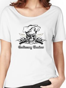 Chef Skull 3: Culinary Genius 3 black flames Women's Relaxed Fit T-Shirt