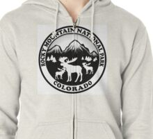 Rocky Mountain National Park Colorado moose design Zipped Hoodie
