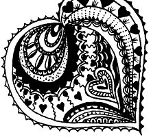 Zentangle Valentine Heart Black & White  by Heatherian