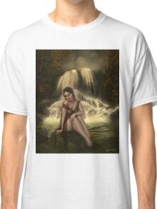 Lady of the Falls - Fairy Sitting by Waterfall Classic T-Shirt