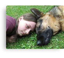 DOG AND GIRL PORTRAIT Canvas Print