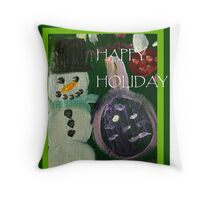 Happy Holiday Snowman Throw Pillow