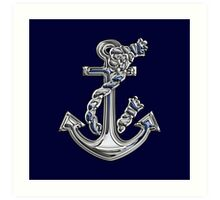 Chrome Style Nautical Rope Anchor Applique Art Print