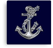 Chrome Style Nautical Rope Anchor Applique Canvas Print