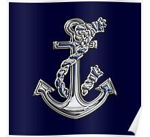 Chrome Style Nautical Rope Anchor Applique Poster